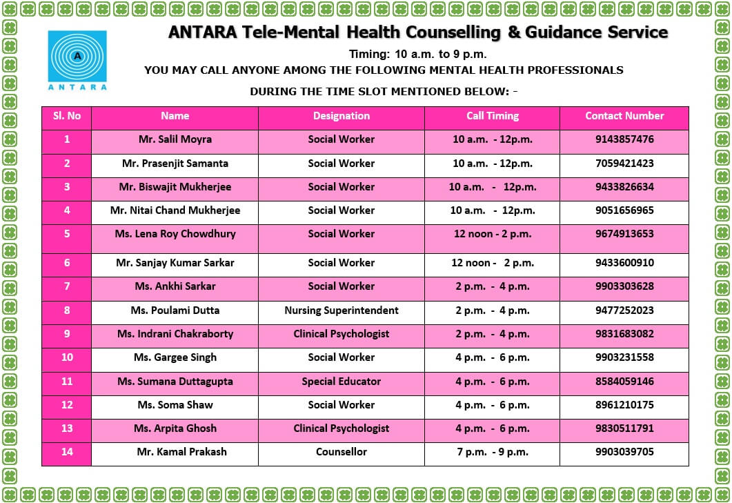ANTARA has launched a 'Tele-Mental Health Counselling & Guidance Service'